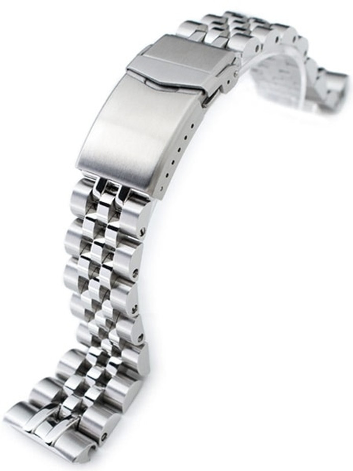 """Strapcode 22mm ANGUS-J """"Louis"""" 316L Stainless Steel Watch Bracelet for Seiko Turtle Watches, Brushed, V-Clasp #SS221820B063"""