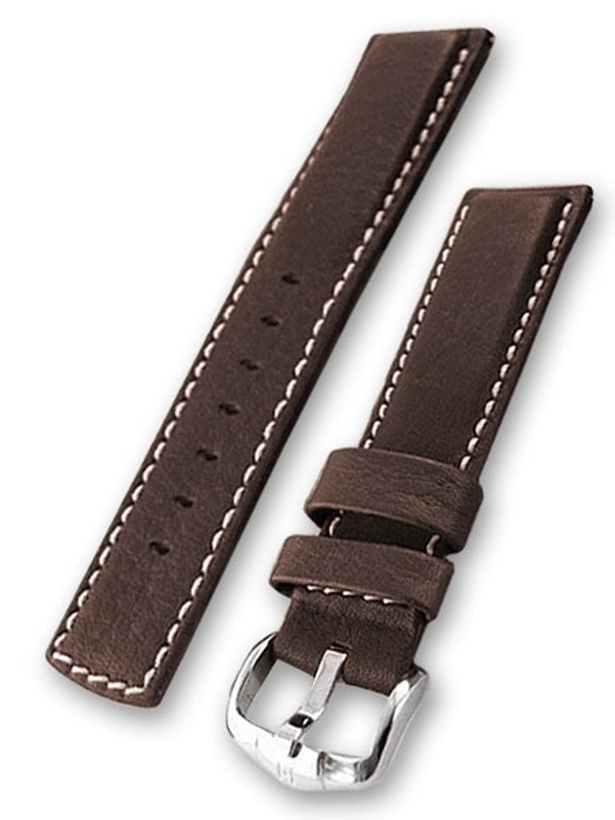Scratch and Dent - Hirsch 20mm Mariner Water Resistant Brown Leather Watch Strap #145021-10