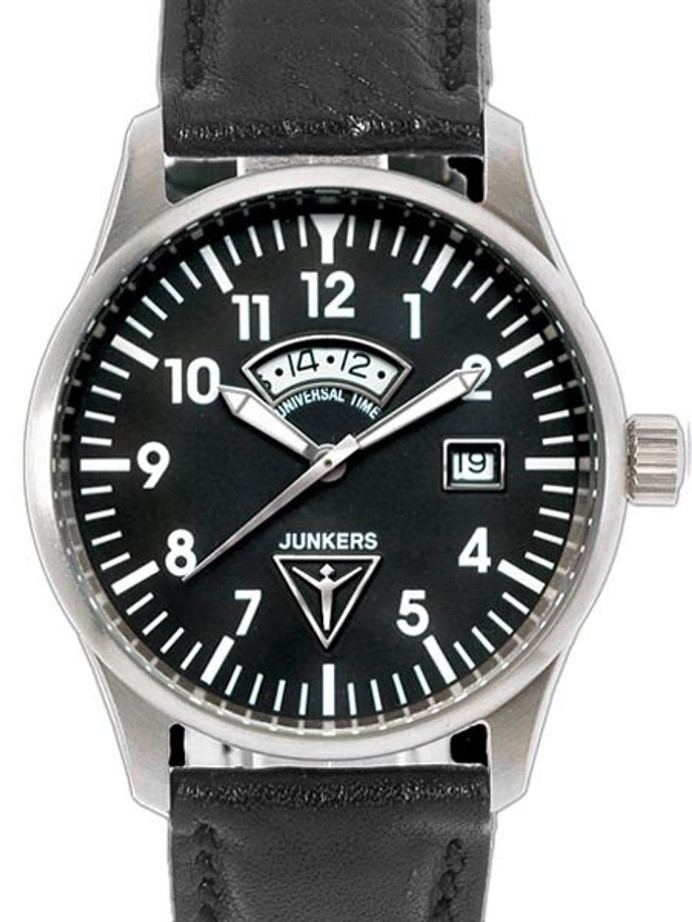 Junkers JU-52 Swiss GMT Watch with Second Independent Time Zone #6240-2