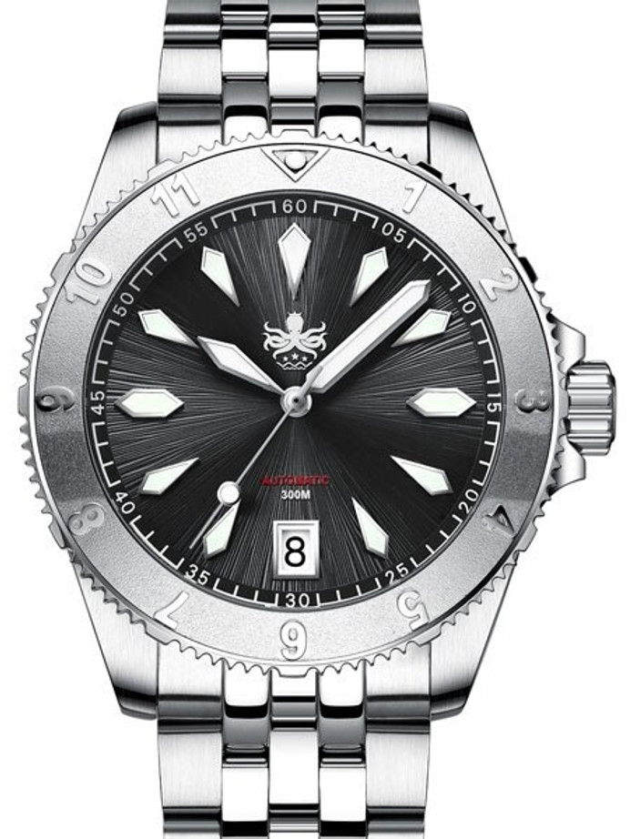 PHOIBOS Black Voyager 300-Meter Automatic Dive Watch with Double Dome AR Sapphire Crystal #PY026C