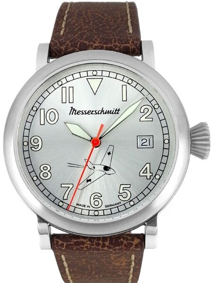 Messerschmitt Fliegeruhr Watch with Sunburst Silver Dial #ME-163-SIL