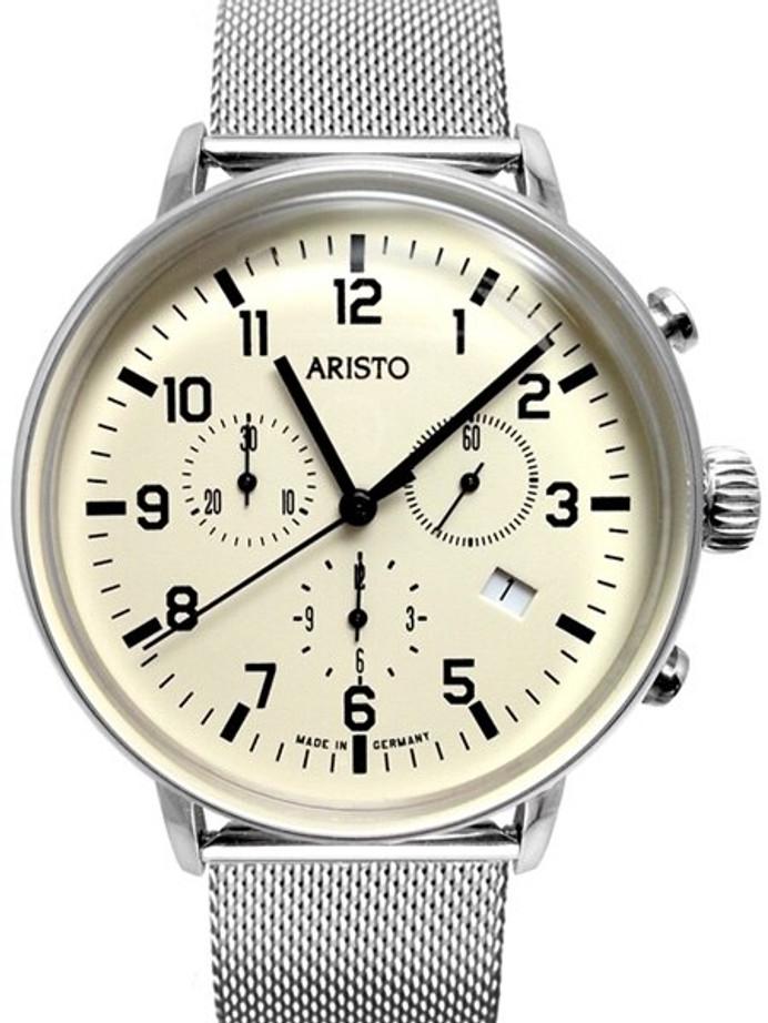 Aristo Bauhaus Swiss Quartz Chronograph Watch on Mesh Bracelet #4H160M