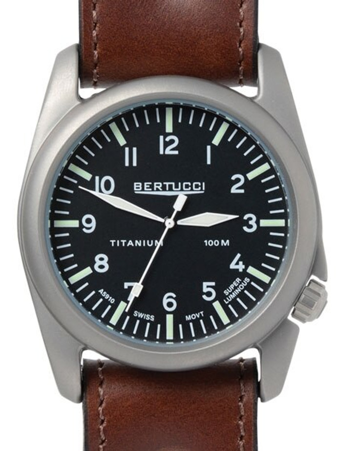Bertucci A-4T Vintage 44 Titanium Watch with an Aviator Strap #13403