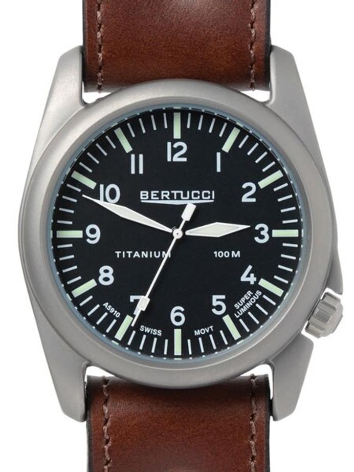 Bertucci A-4T Vintage 44 Titanium Watch with an Aviator Strap #13403