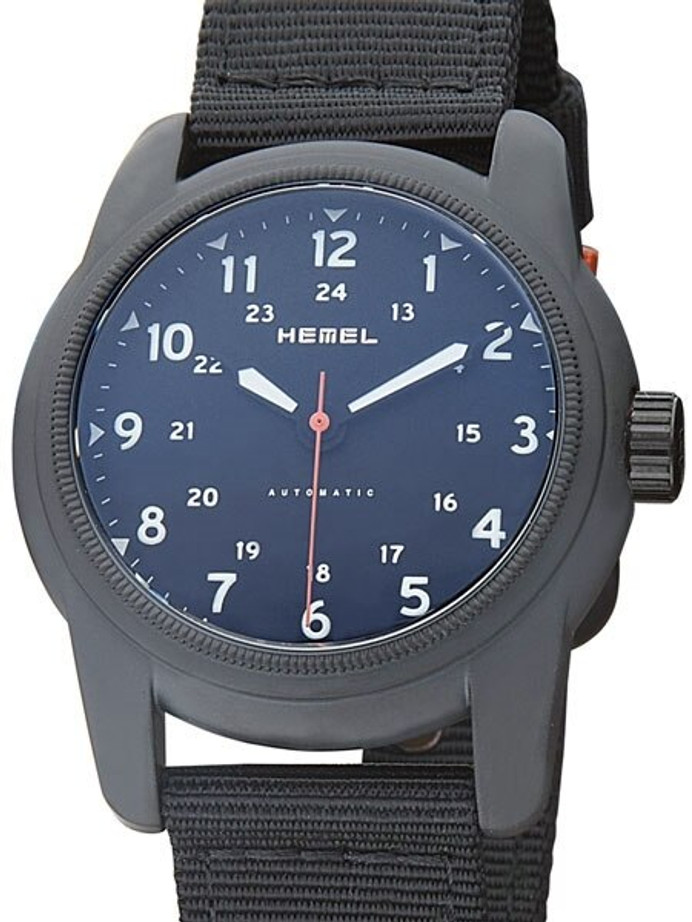 HEMEL 24 Automatic Military-Styled Watch Black Ion-Plated Case and Sapphire Crystal #HMNO1