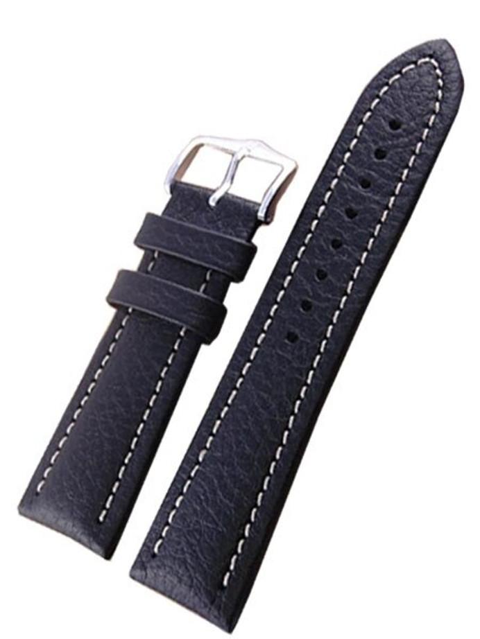 Hirsch Buffalo Black High Grain Leather Watch Strap #113202-50