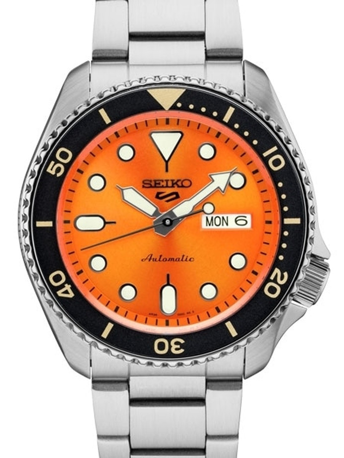 Seiko 5 Sports 24-Jewel Automatic Watch with Orange Dial and SS Bracelet #SRPD59