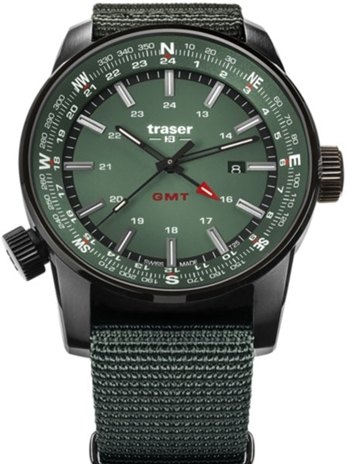 Traser P68 Pathfinder GMT Swiss Quartz Watch with Compass, AR Sapphire Crystal #109035