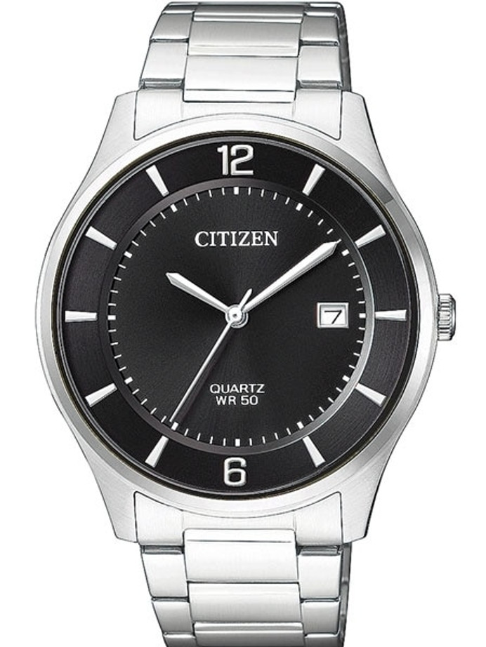 Citizen Thin Quartz Dress Watch with Black Dial and SS Bracelet #BD0041-89E