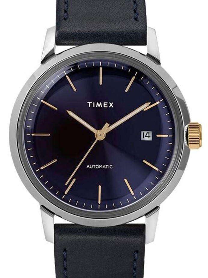 Timex 40mm Marlin 21-Jewel Automatic Watch with Stainless Steel Case and Navy Blue Dial #TW2T23100ZV