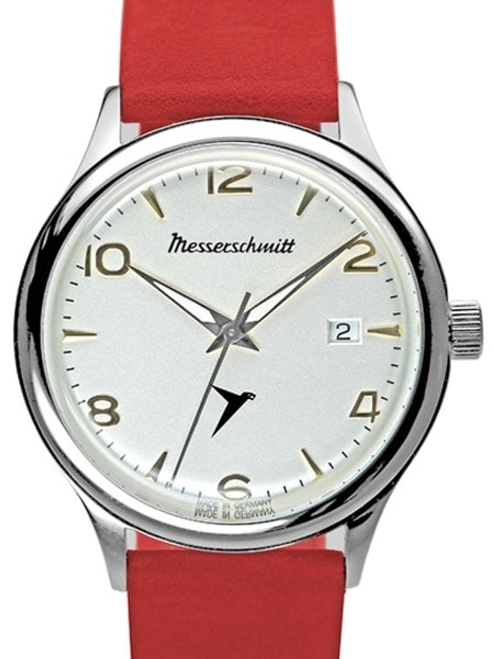 Messerschmitt White Dial Swiss Quartz Watch with Red Leather Strap #KR500-SR