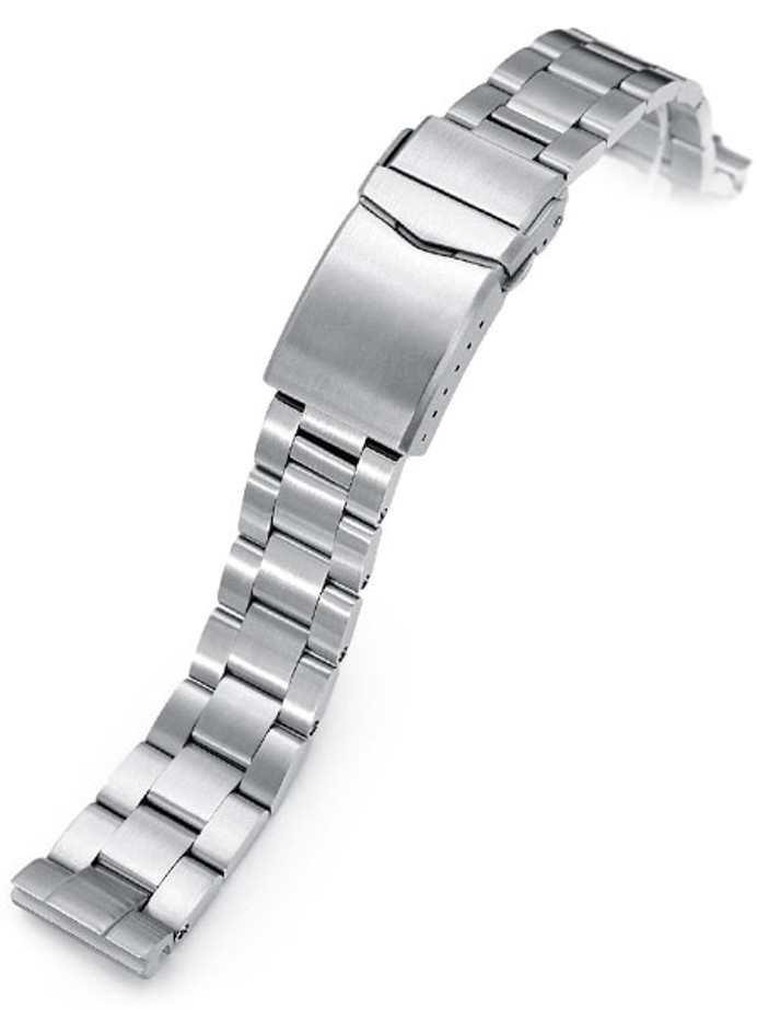 """Strapcode 20mm Super-O 3D """"Boyer"""" Stainless Steel Watch Bracelet Seiko SBDC053 V-Clasp, Brushed #SS201820B085"""