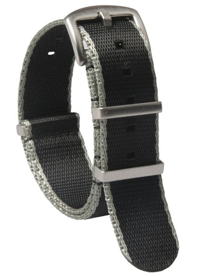 NATO-Style Black and Grey Seat Belt Weave Nylon Strap with Stainless Steel Buckle  #SB-07-SS