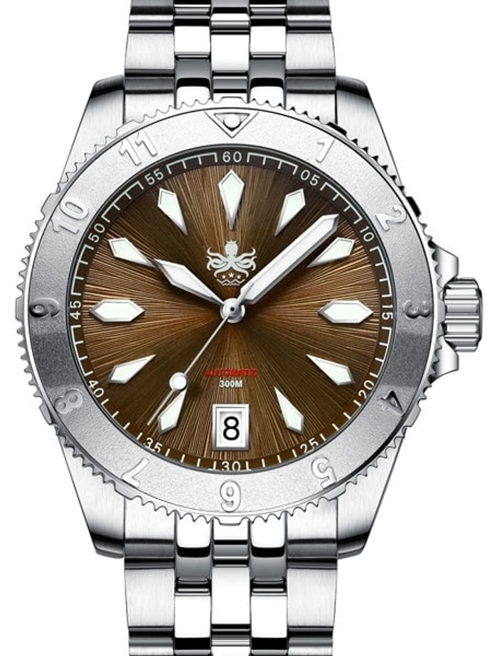 PHOIBOS Brown Voyager 300-Meter Automatic Dive Watch with Double Dome AR Sapphire Crystal #PY026D