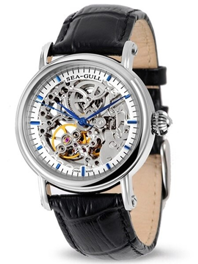Sea-Gull 38mm Skeleton Automatic Dress Watch with Leather Strap #M182SK