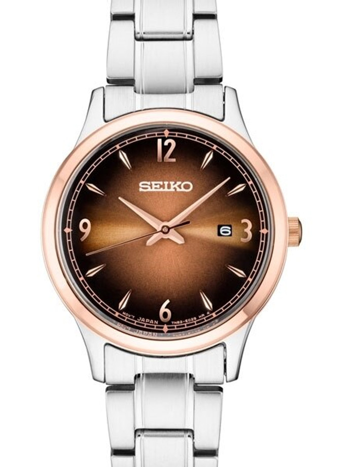 Seiko Ladies Two-Tone Quartz Watch with Ombré Brown Dial and Stainless Steel Bracelet #SXDH02