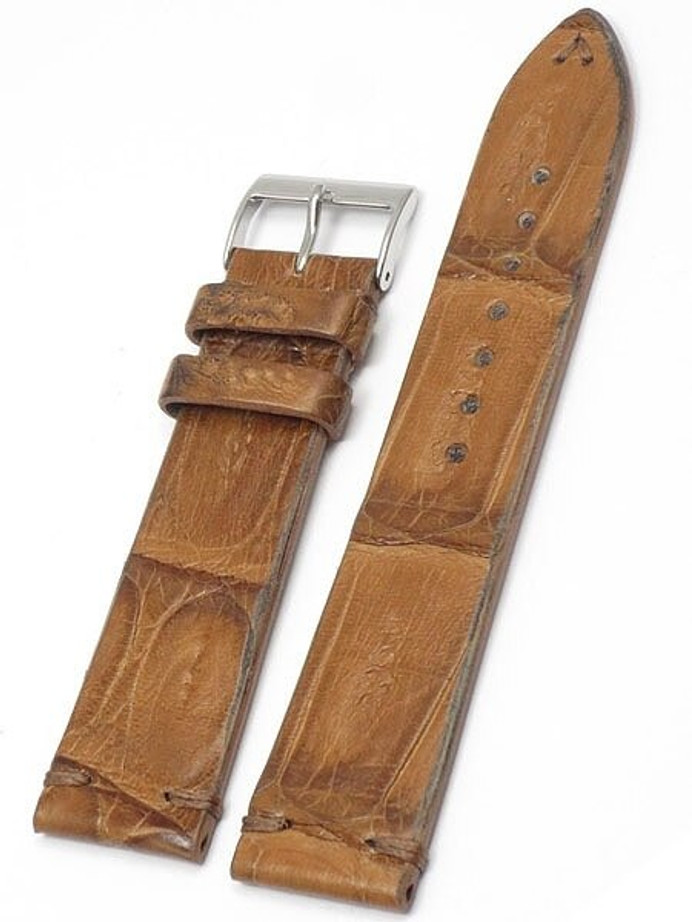 Handmade Italian Vintage Style Tan Crocodile with Hand-Stitching #ML-900-VIN03