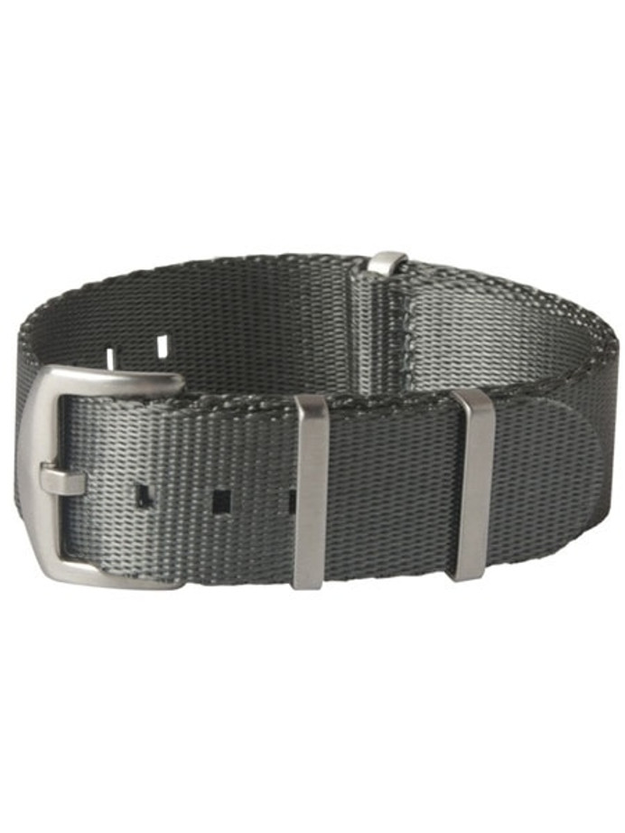 NATO-Style Grey Seat Belt Weave Nylon Strap with Stainless Steel Buckle #SB-11-SS