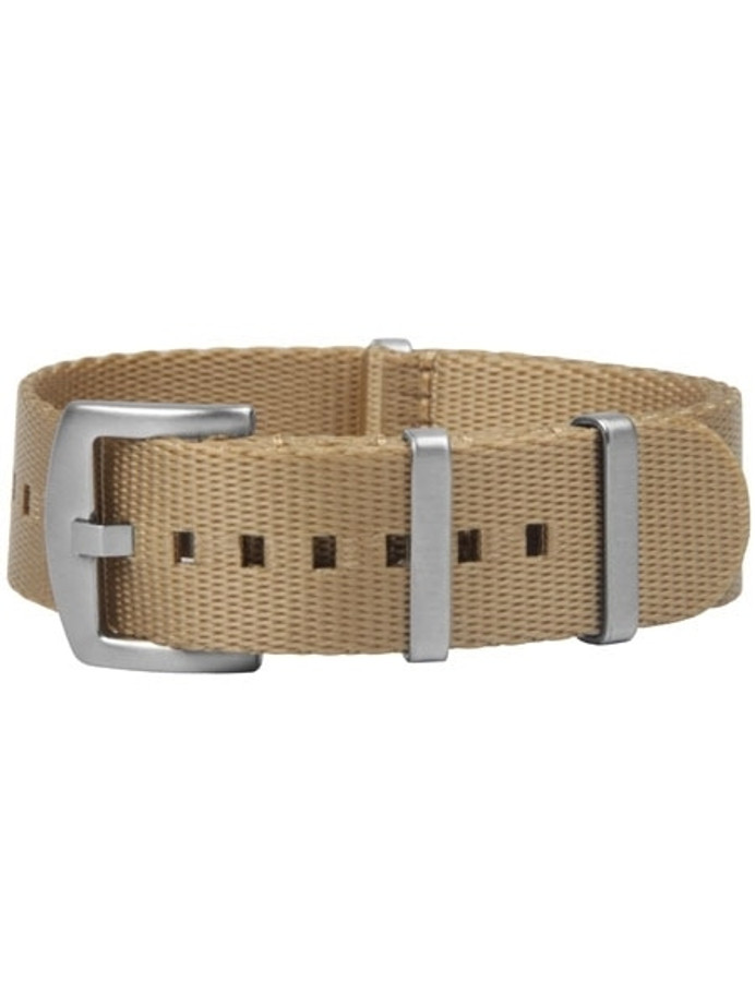 NATO-Style Desert Tan Seat Belt Weave Nylon Strap with Stainless Steel Buckle #SB-12-SS