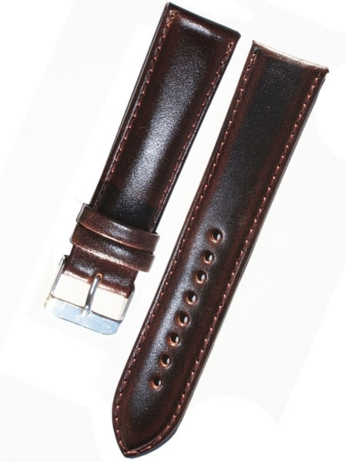 Basic Dark Brown Leather Strap with Matching Stitching and Stainless Steel Buckle #WS-S580