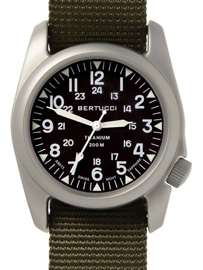Bertucci A-2T Vintage Marine Titanium Watch with Defender Olive Nylon Strap #12075
