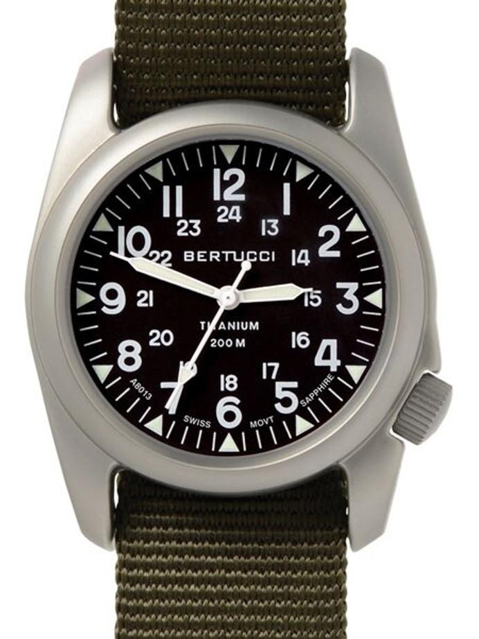 Bertucci A-2T Vintage Marine Titanium Watch with Defender Olive Nylon Strap #12075