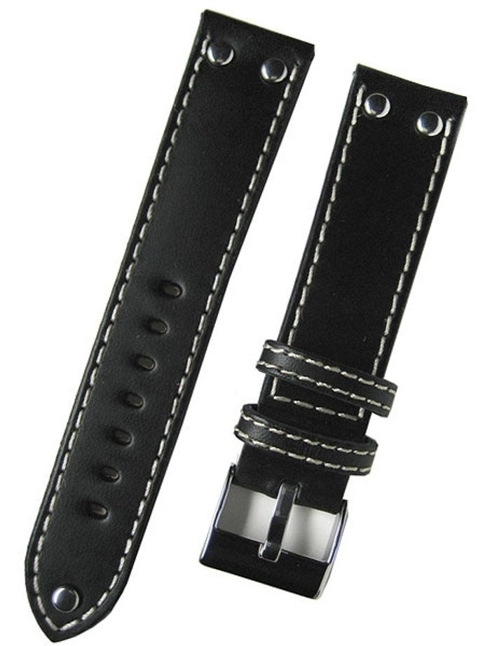 Aviator Style Black Leather Strap with Rivets and Contrast Stitching #EBV-ST-22730