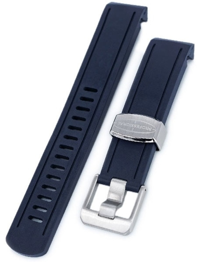 Crafter Blue 20mm Curved-End Rubber Watch Strap for Seiko Sumo #CB02-B