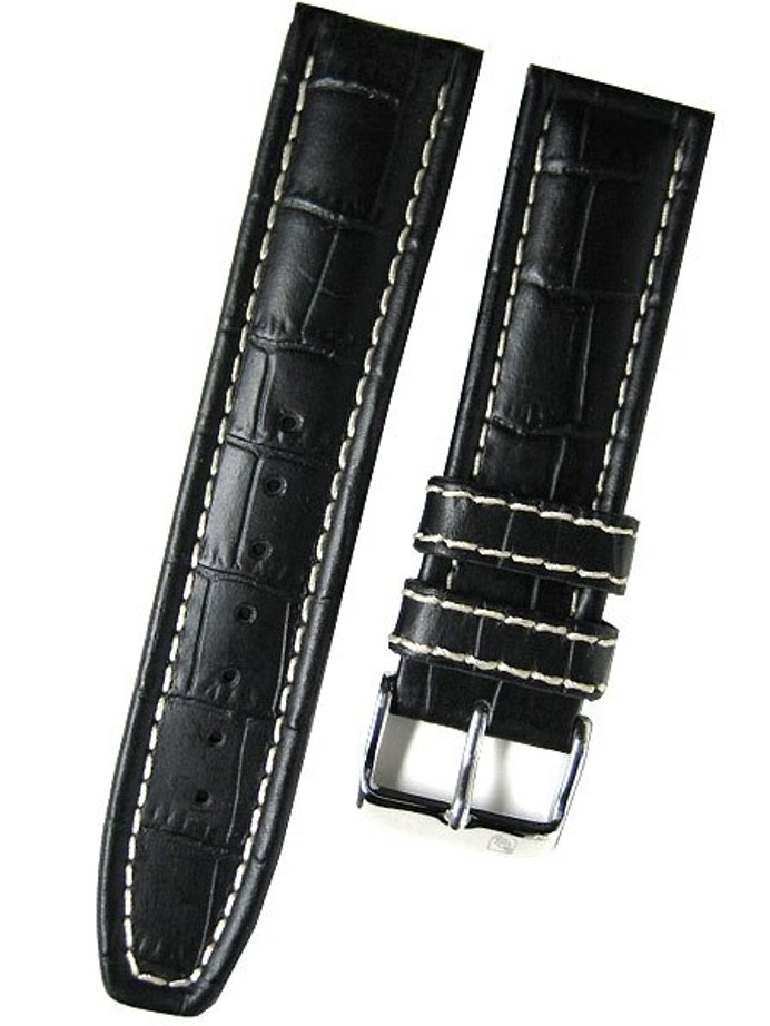 Toscana Black Alligator Grained Leather Watch Strap with White Stitching #RY6-31430