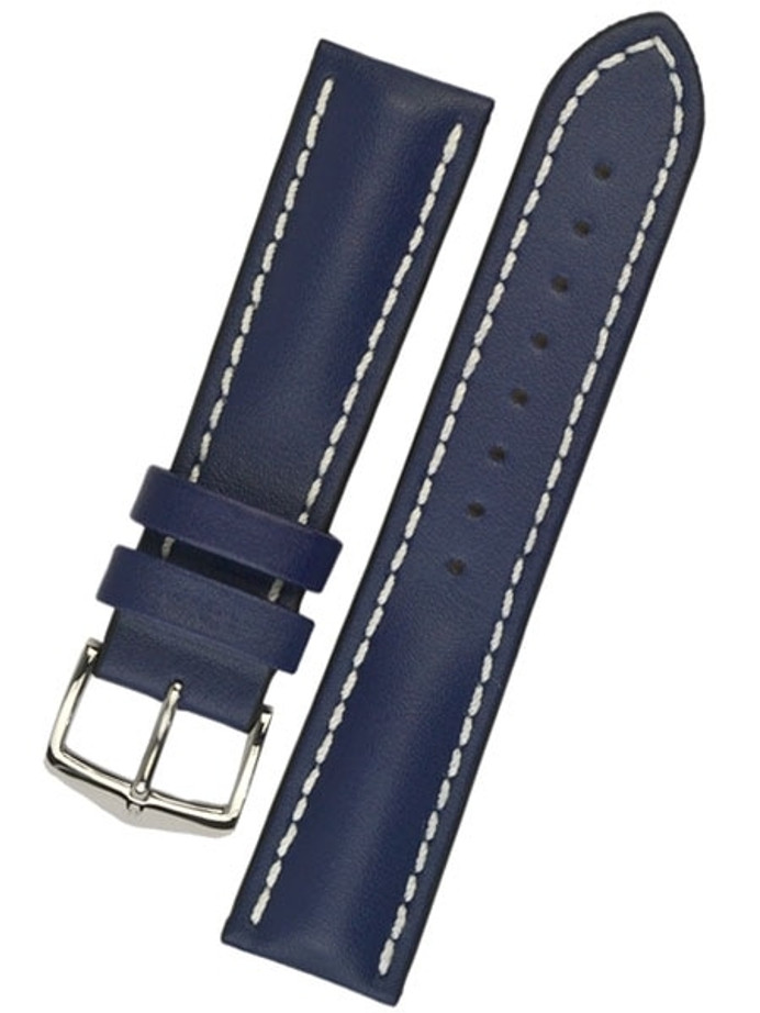 Hirsch Blue Heavy Calf Leather Watch Strap #014750-80