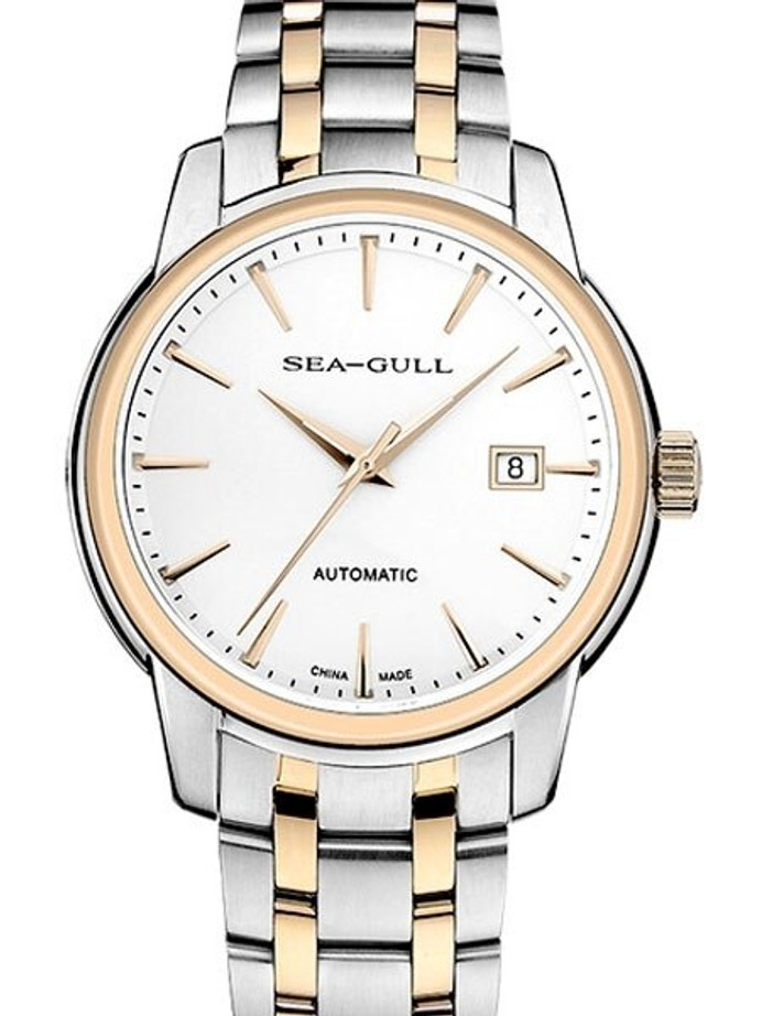 Sea-Gull 41mm Automatic Two-Tone Watch with Bracelet and Sapphire Crystal #217.421
