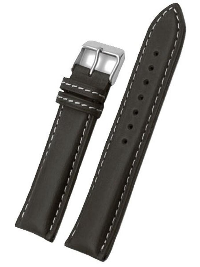 Toscana Black Heavy Padded Italian Calf Leather Watch Band HRV-27330