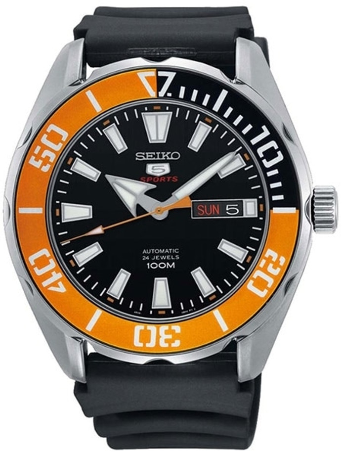 Seiko 5 Sports Automatic 24-Jewel Watch with Black Dial and Sport Strap #SRPC59K1