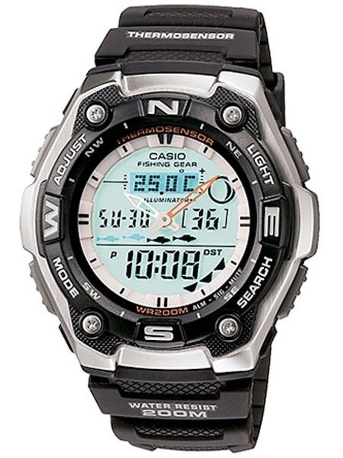 Casio Sports and Fishing Analog-Digital Watch with Fish Indicator, Thermometer #AQW101-1AV