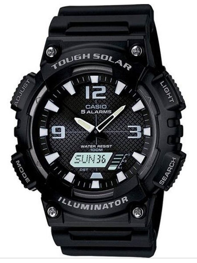 Casio Tough Solar-Light Powered Analog-Digital Watch with Alarm and Stopwatch #AQ-S810W-1AV