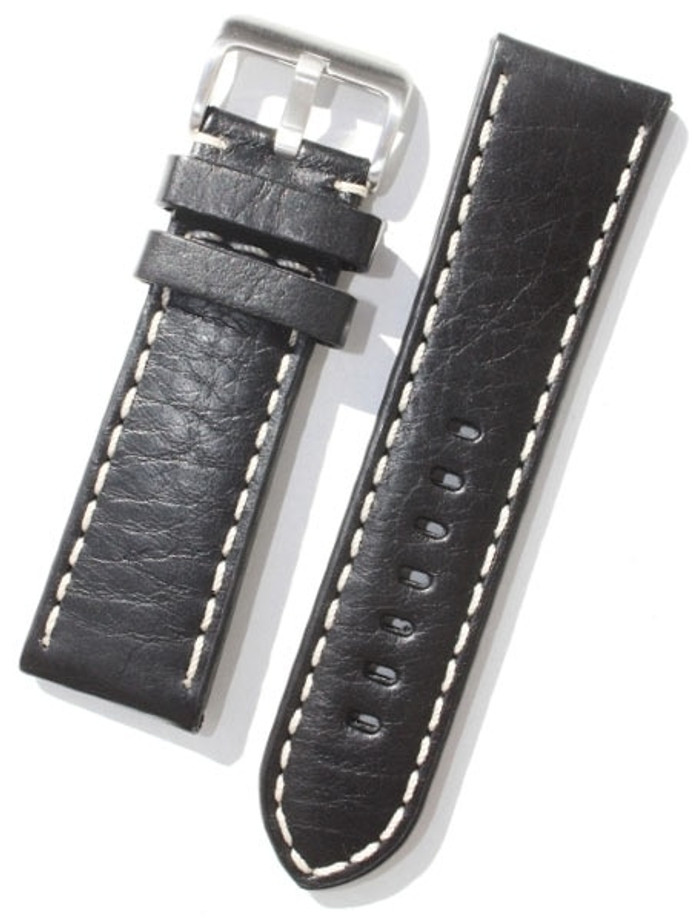Toscana PANERAI Style Black Italian Leather Strap with Contrasting Stitching #LBV-98230