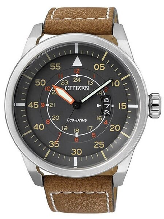 Citizen Eco-Drive Grey Dial Pilot Watch with Brown Leather Strap #AW1360-12H