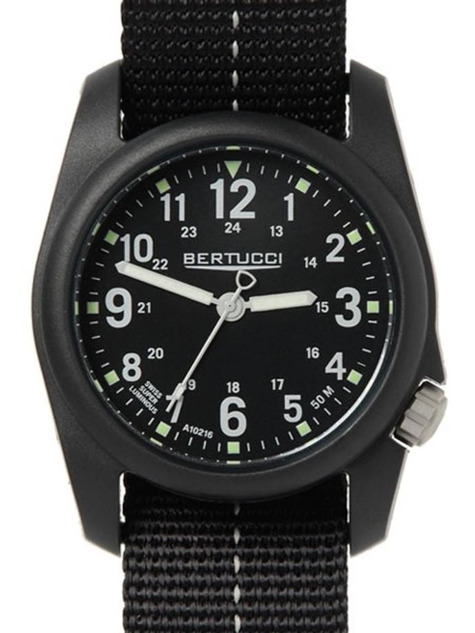 Bertucci DX3 Plus Resin Watch, Dash-Striped Nylon Strap, Black Dial - 11043