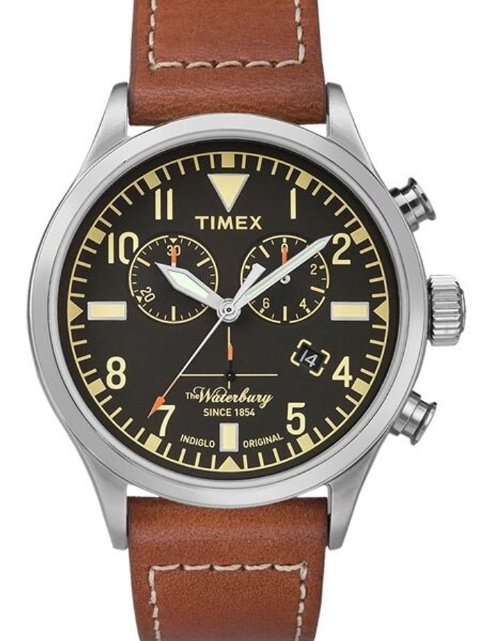 Timex 42mm Waterbury Quartz Chronograph with Black Dial and INDIGLO Night-Light #TW2P84300VQ