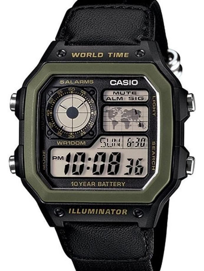 Casio Black Resin Illuminator World Timel Alarm Watch with 31 Time Zones #AE-1200WHB-1BV