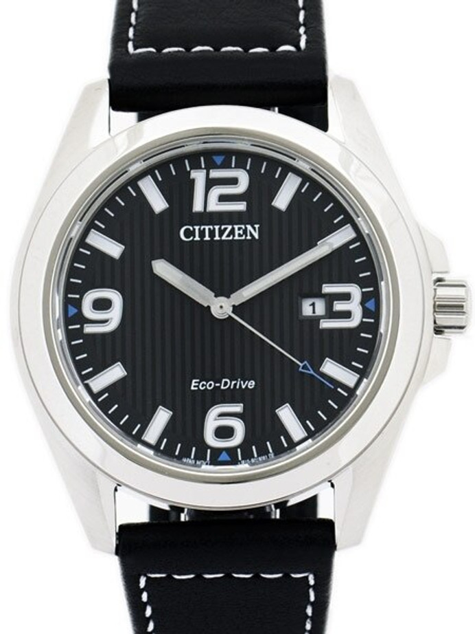 Citizen Eco-Drive Black Dial Sport Watch with Black Leather Strap #AW1430-19E