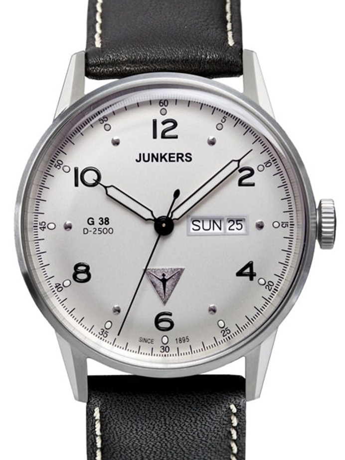 Junkers G38 Day and Date Quartz Watch with Silver Dial #6944-1