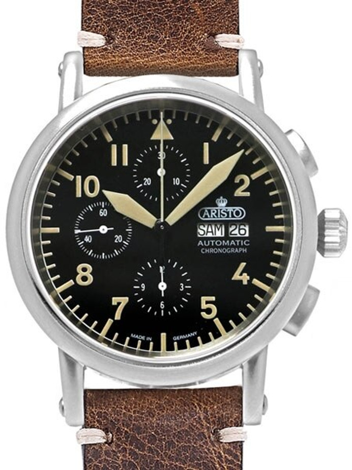 Aristo Swiss Valjoux 7750 Automatic Chronograph Aviator Watch #7H186