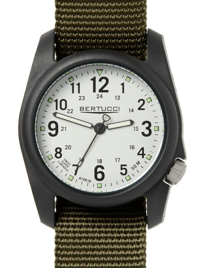 Bertucci DX3 Field Resin Watch, Olive Green Nylon Strap, White Dial - 11049