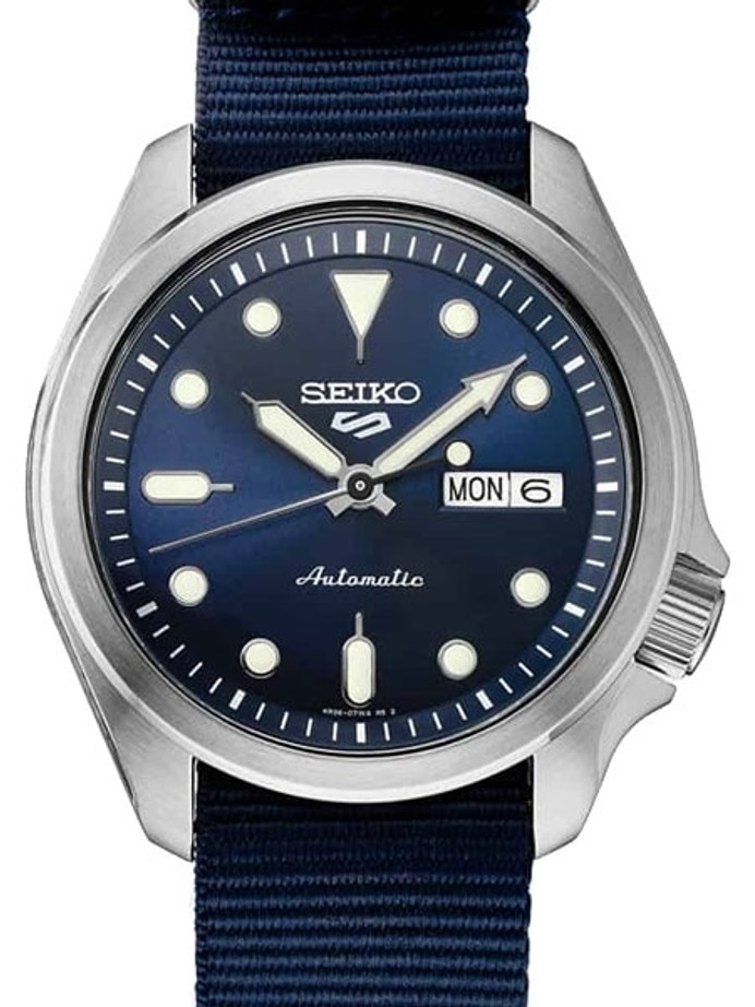 Seiko 5 Sports 24-Jewel Automatic Watch with Blue Dial and Band #SRPE63