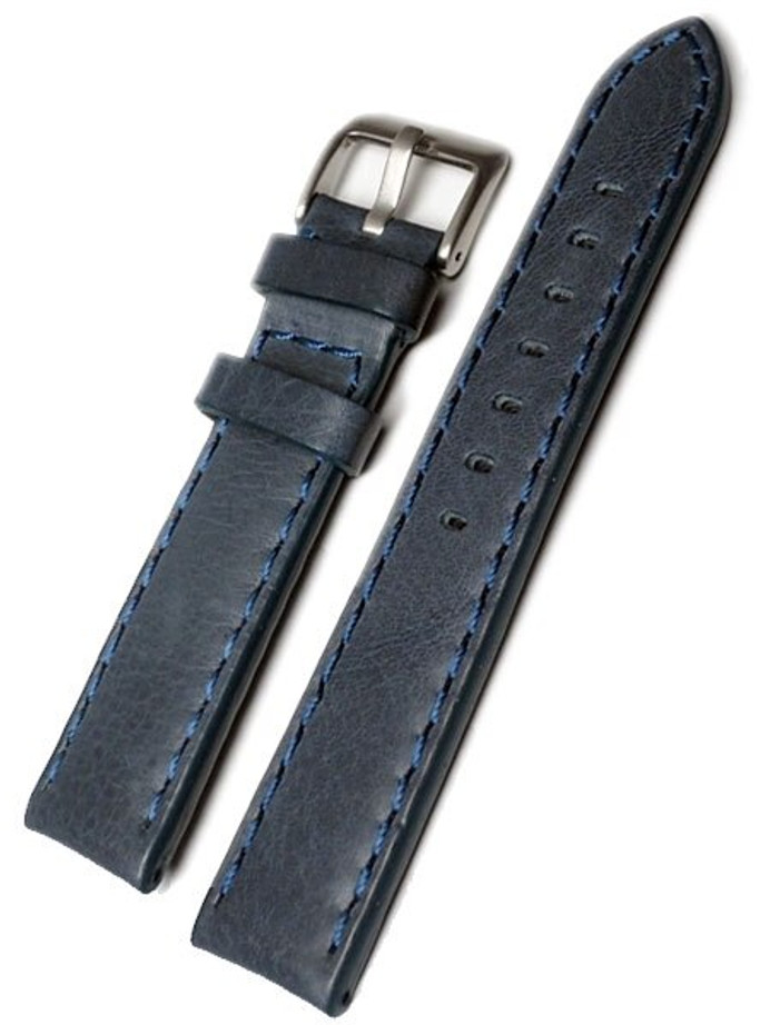 Panerai-Style Blue Leather Strap with Matching Stitching #LBV-98241M