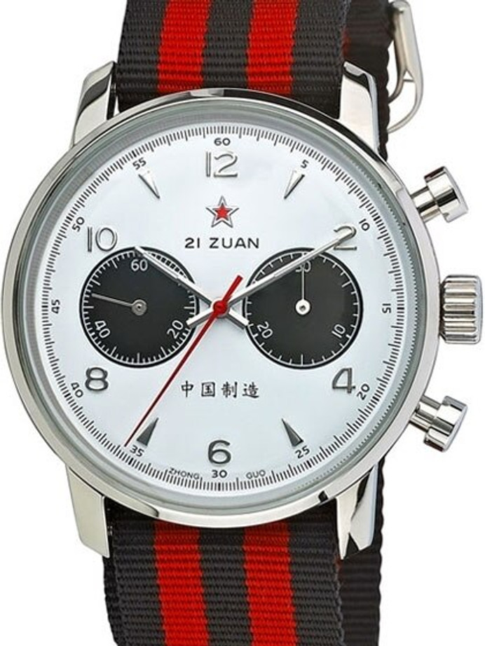 Scratch and Dent - Seagull 1963 Hand Wind Mechanical Chronograph with White Dial #6488-2901W 12