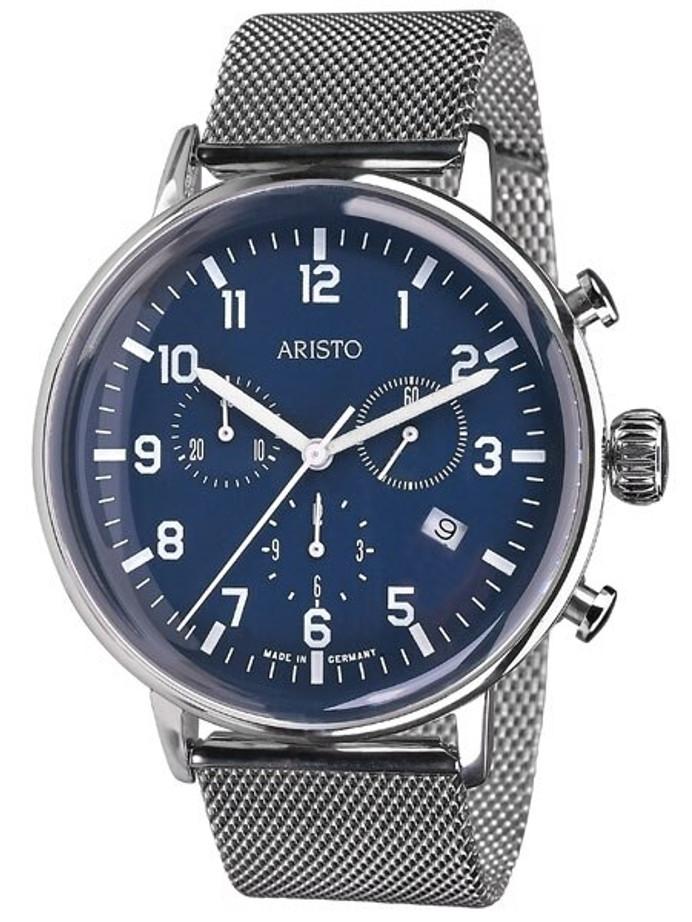 Aristo Bauhaus Swiss Quartz Chronograph Watch on Mesh Bracelet #4H161M