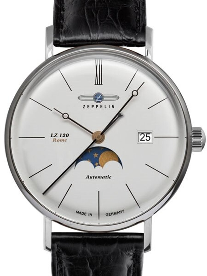 Graf Zeppelin LZ120 Rome Swiss Automatic Moonphase Watch with Dome Crystal #7108-4
