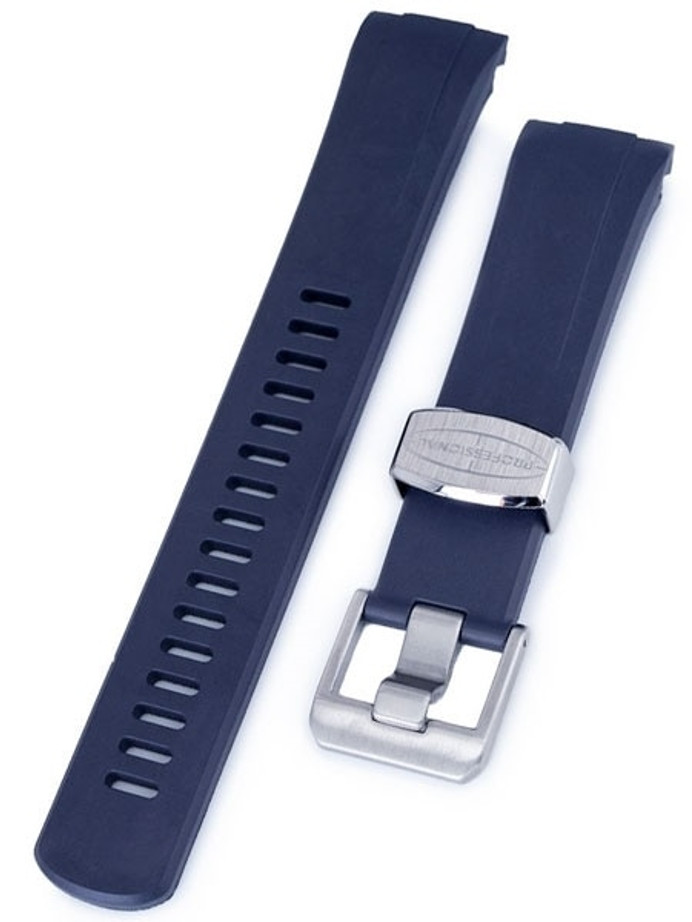 Crafter Blue 22mm Curved-End Rubber Watch Strap for Seiko Turtle #CB08-B
